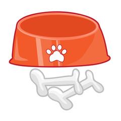 dog bowl with bone