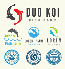 Fish farm logo collections. Set of fish logo for your business. Vector illustration