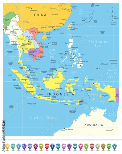Political Map Of Se Asia.Southeast Asia Political Map And Navigation Icons Stock Image And