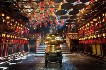 Recess Fitting Temple Inside the main hall of Man Mo Temple, Sheung Wan, Hong Kong