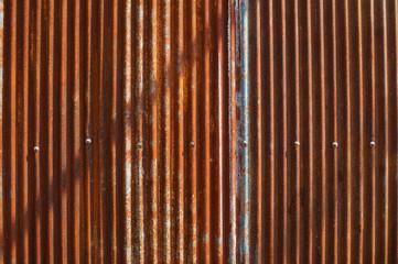rusty zinc wall.