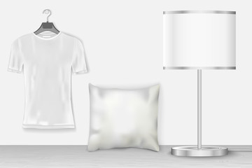 Interior mock up with t-shirt for presentation patterns and prints