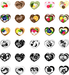The icons of various heart sweets