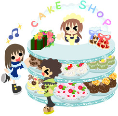 The couple who are shopping in the sweet shop which sells delicious cake.