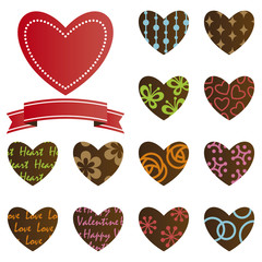 13Heart design & ribbon with white background