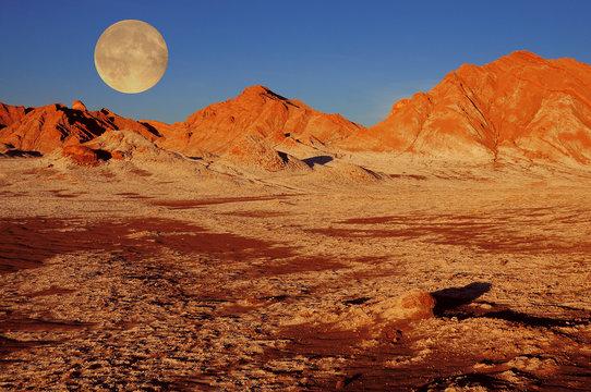 Moon valley in Atacama desert.