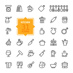 Outline icon collection - cooking, kitchen tools and utensils
