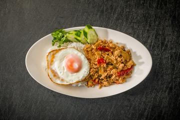 ガパオライス タイのグルメ  Phad Bai Gaprao Gai Sap Thai dish