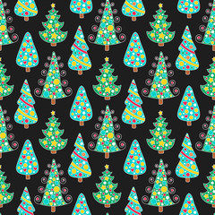 Christmas tree pattern. Hand drawn vector pattern with doodle christmas tree. Winter cute background. Seamless.