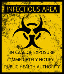 Biohazard Infectious Area Poster and Grunge Texture