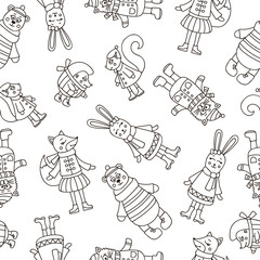 Winter animals. Seamless vector pattern for childrens. Hand drawn doodle christmas animals - bear, fox, rabbit, cat, squirrel, hedgehog.