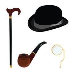Bowler hat, monocle, smoking pipe and walking stick