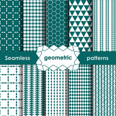 Vector Geometric turquoise Seamless Patterns Set.