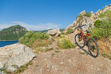 orange mountain bike at cliff overviewing sea