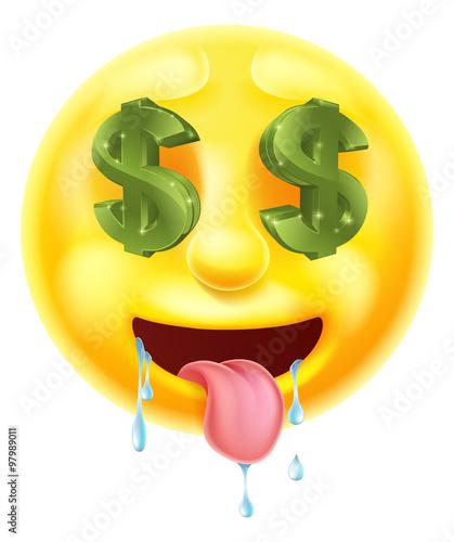 quotdollar sign eyes emoticon emojiquot imagens e vetores de