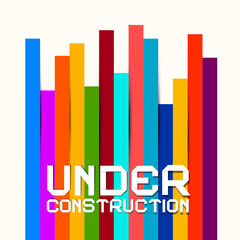 Under Construction Vector Sign with Colorful Papers Background
