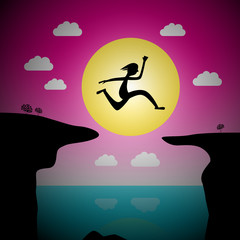 Jumping Over Precipice Vector Cartoon - Man or Woman Leap with Ocean and Sea and Sunset Sky