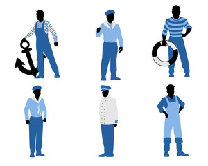 Six sailors silhouettes
