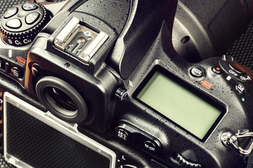 Closeup of professional digital camera