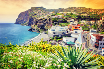 View of Camara de Lobos, small village on Madeira island