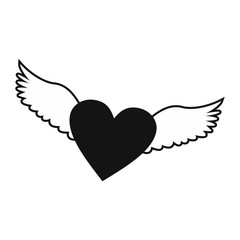 Heart with wings simple icon