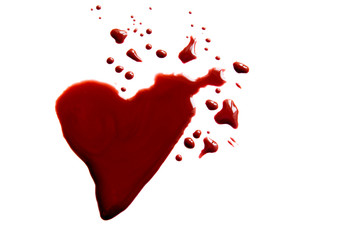 Bloody heart shape puddle