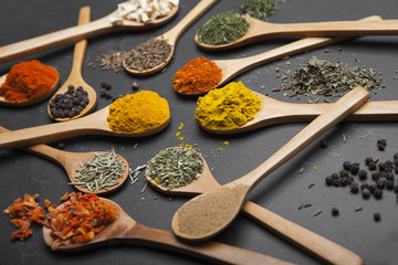 Powder spices on spoons and bowl