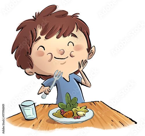 Niño Comiendo Ensalada Stock Photo And Royalty Free Images On