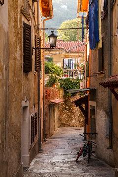 Charming old alley in Opatija village, Croatia