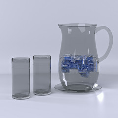 Pitcher with water and ice and the two glasses.