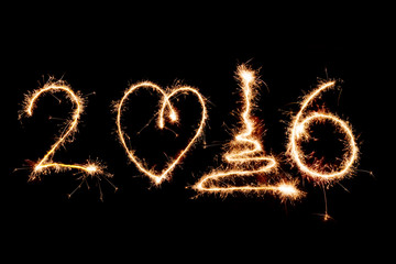 2016 written with fireworks as a background
