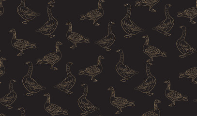 Vector abstract seamless background of geese. Chaotic geese.
