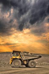 Mining truck on sunset