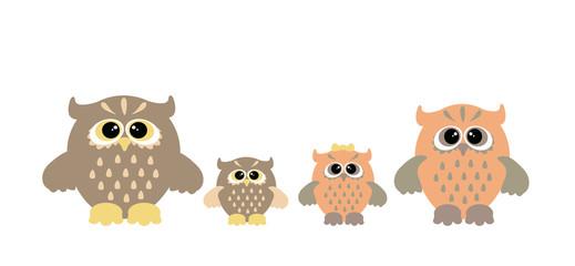 Set of cartoon owls. Cute owl family.