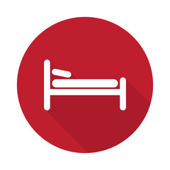Flat Bed icon with long shadow on red circle