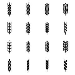 Vector black wheat ear icon set. Wheat Ear Icon Object, Wheat Ear Icon Picture, Wheat Ear  Icon Image - stock vector