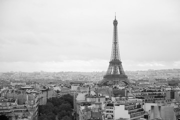 La Tour Eiffel, black and white cityscape