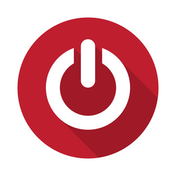 Flat Power icon with long shadow on red circle