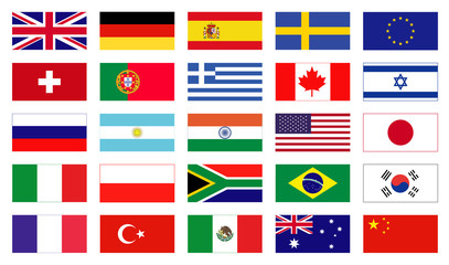 Icons of flags in flat style. Vector flags of the world.