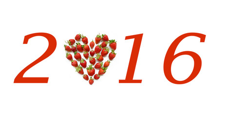 Christmas motif with heart shaped strawberries