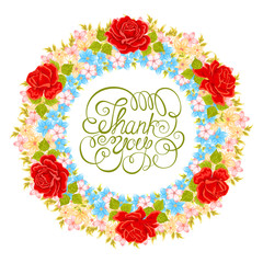 Vector flower wreath. Floral element for design of greeting card
