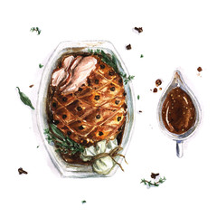 Pork Roast - Watercolor Food Collection
