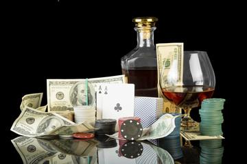 Poker chips and dollar bills