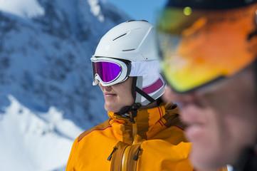 alpine ski couple - race face