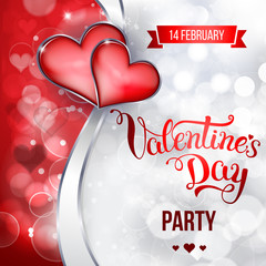 "Original hand lettering ""Valentine's day party""."