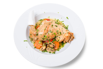 Baked chicken leg with vegetables.