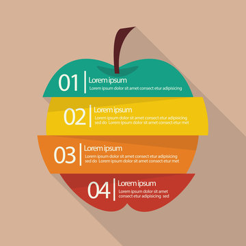 Step design of four part apple infographic