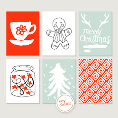 Christmas holiday hand sketched greeting card set with brush and