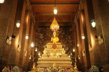 main buddha statue at  wat pho temple in bangkok thailand