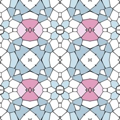 Seamless mosaic pattern or background - blue, pink and white